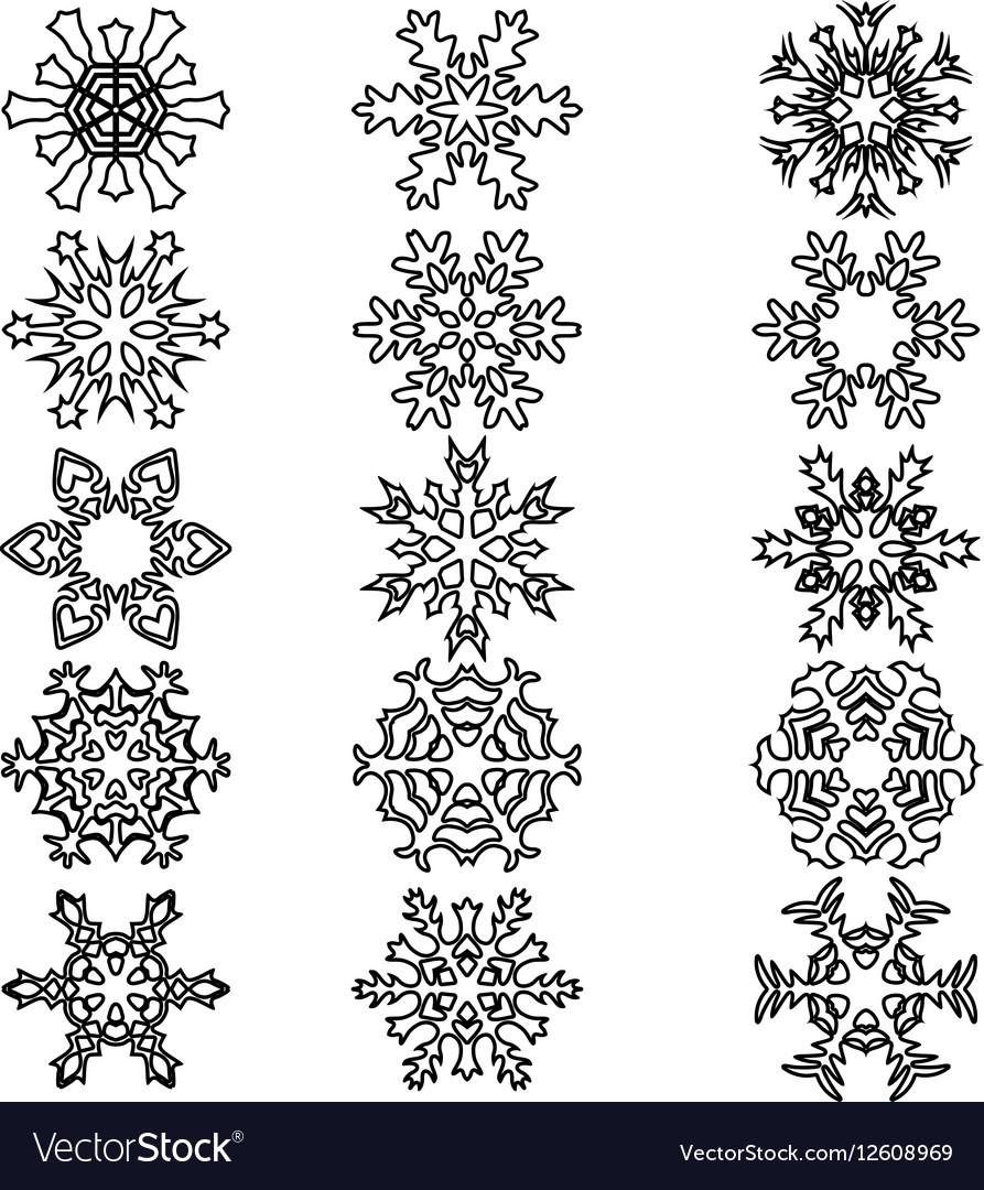 Set snowflakes icons on white background