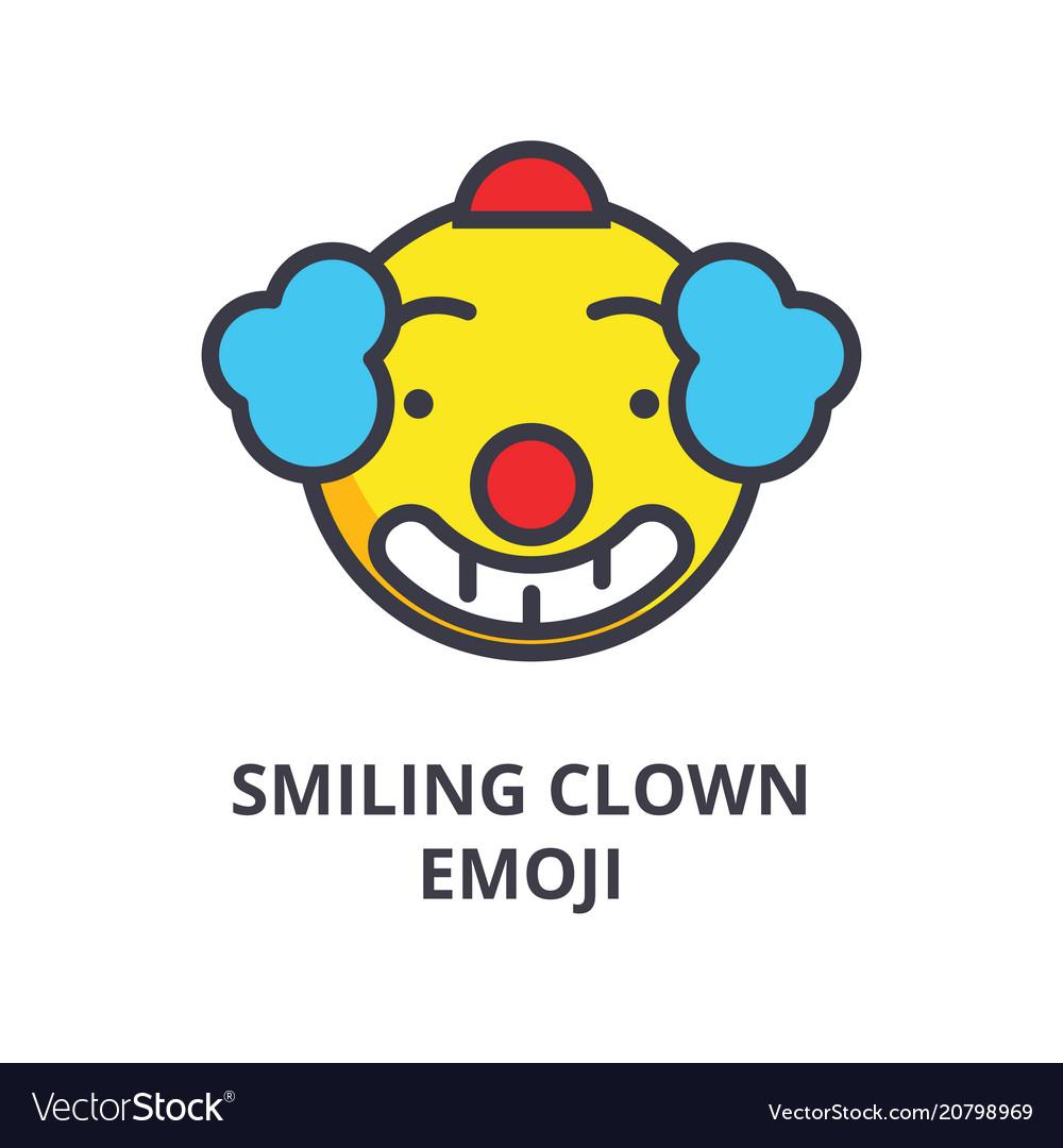 Smiling clown emoji line icon sign