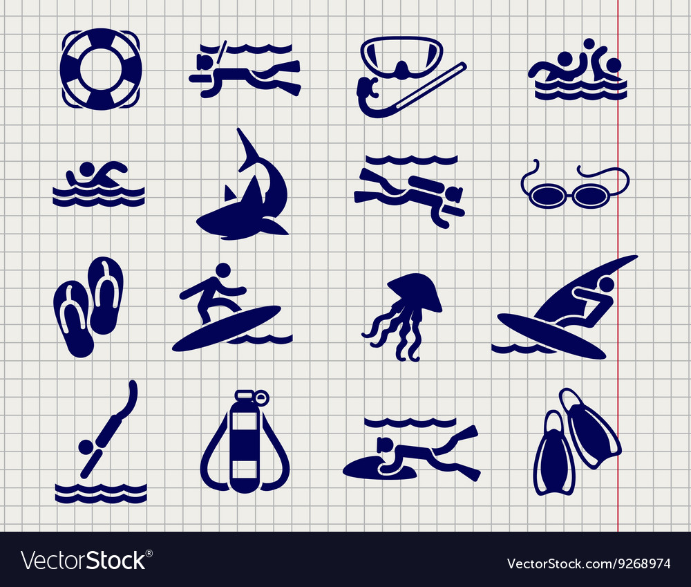Active sport flat icons vector image