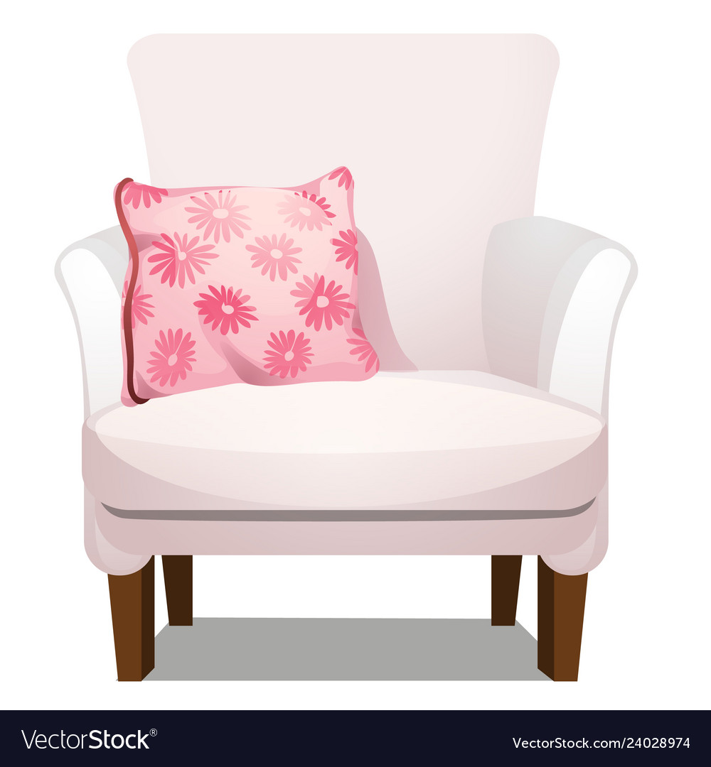 Armchair upholstered with white fabric and soft
