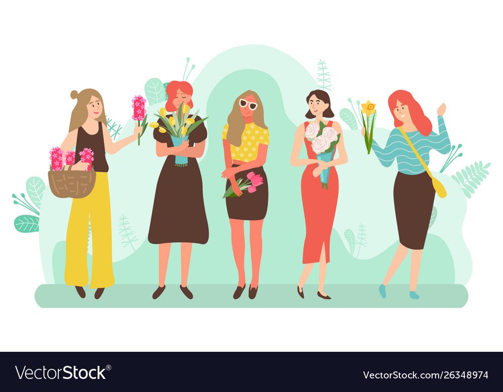 Beautiful women holding bouquets flowers