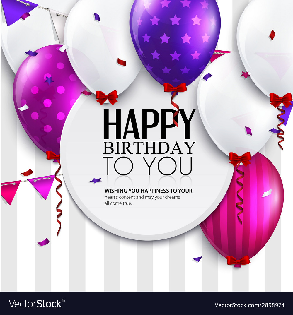 Birthday card with balloons and bunting flags on