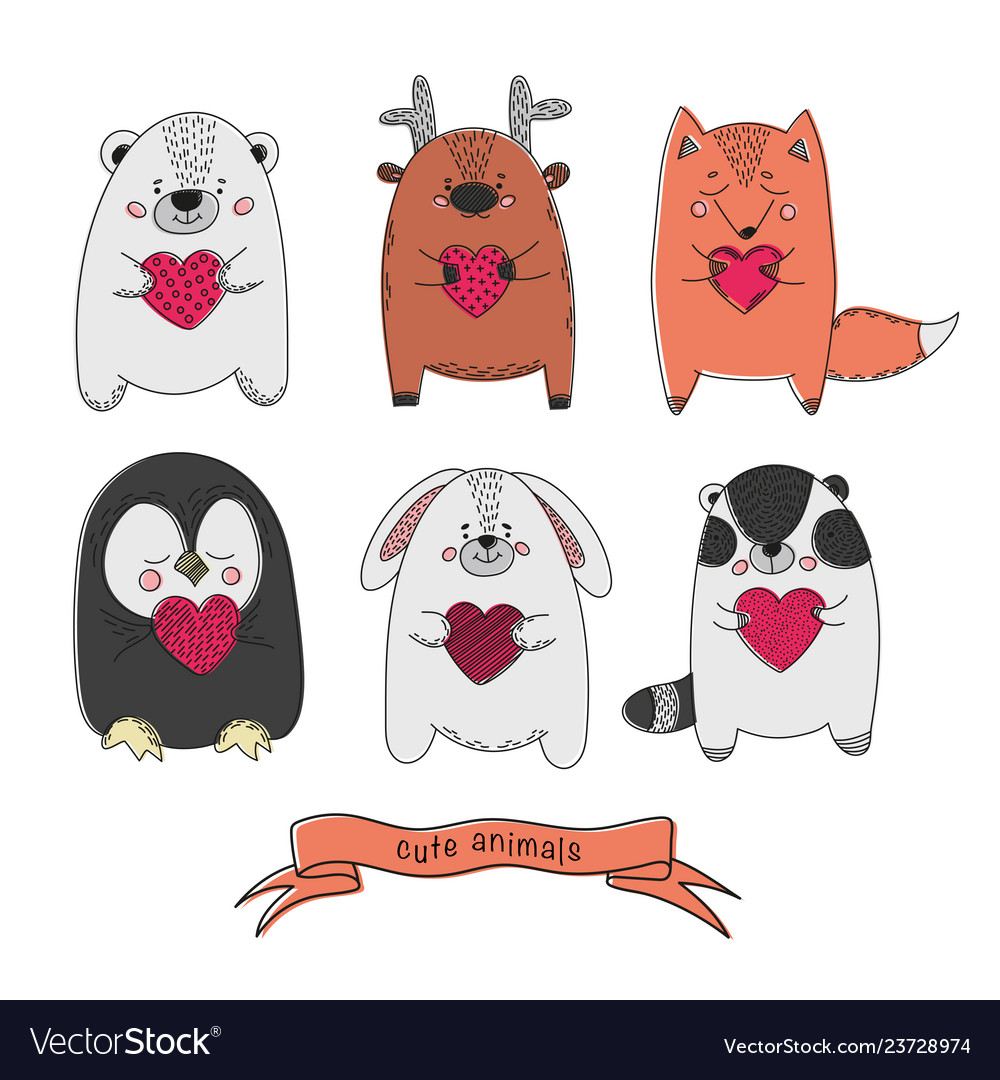 Cute animals comic valentines day cartoon