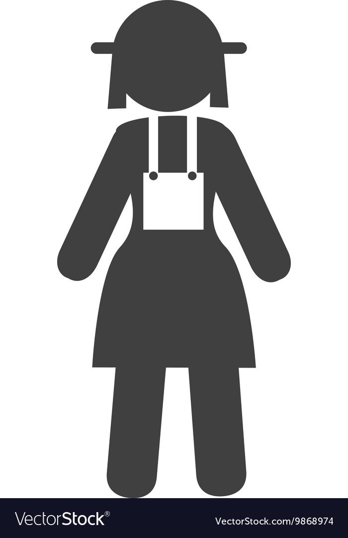 Farmer woman overall icon