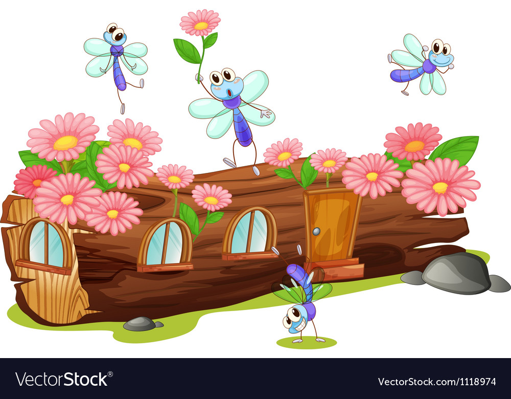 Flies and a wood house vector image