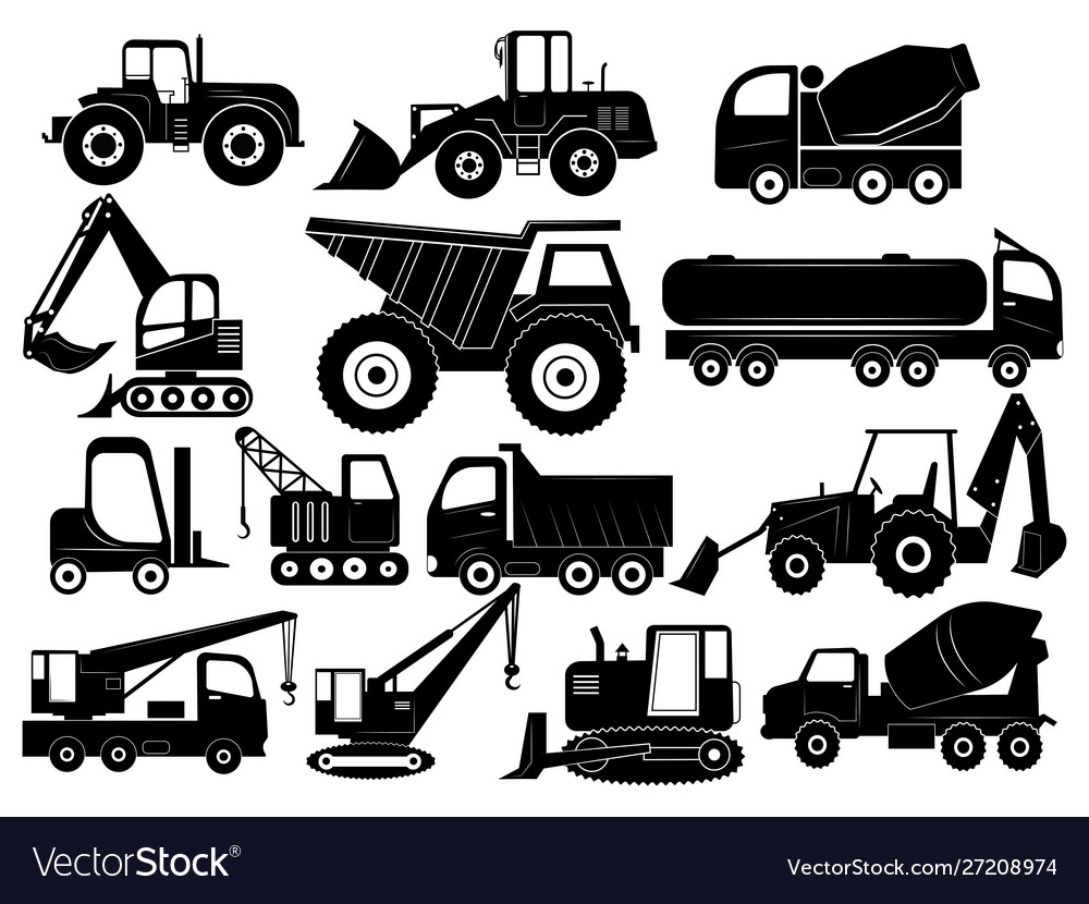 Set construction equipment collection of vector
