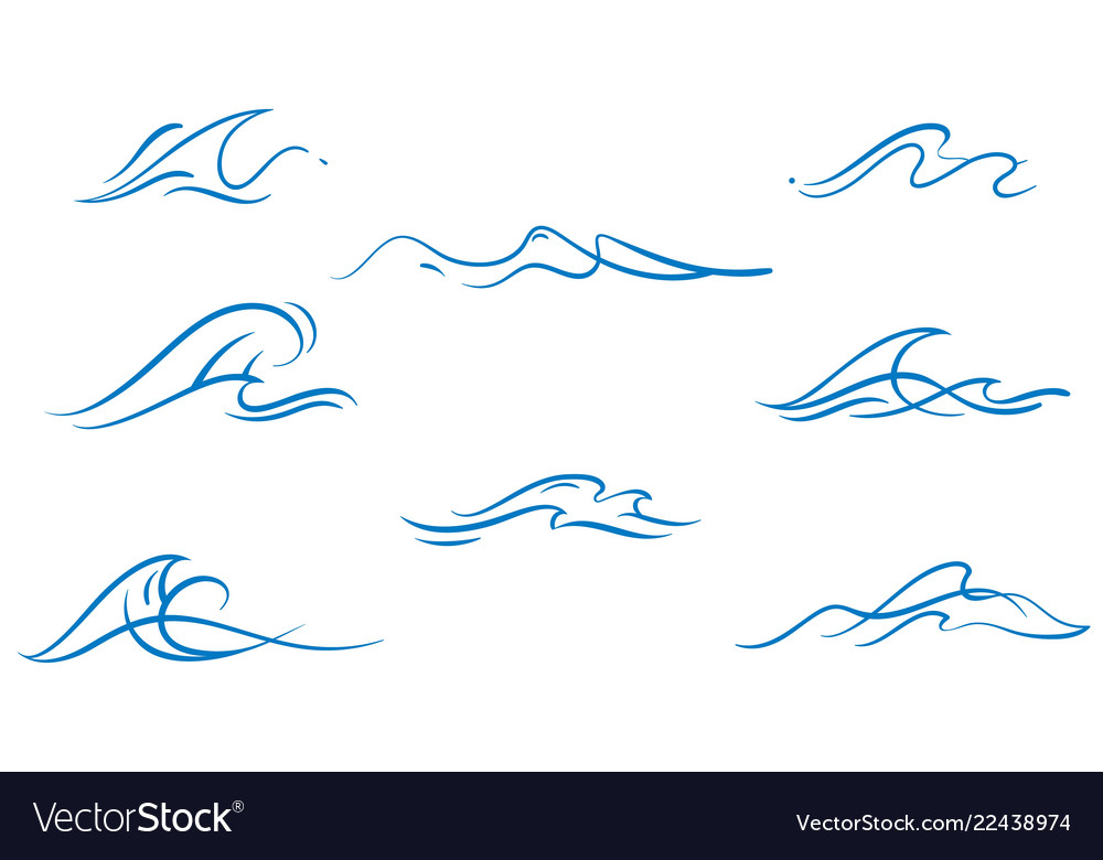 Set of simply dawn ocean waves