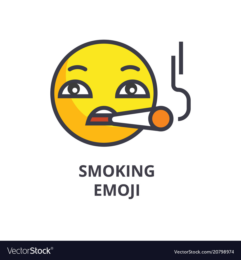 Smoking emoji line icon sign vector image