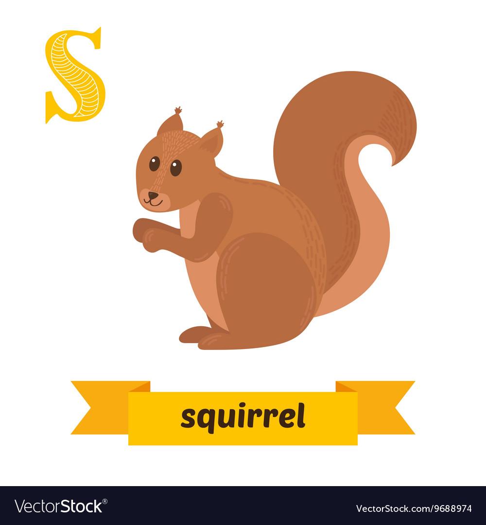 Squirrel S letter Cute children animal alphabet in