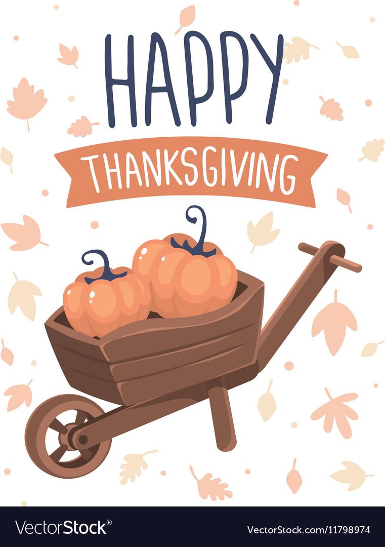 Thanksgiving with pumpkins in wheelbarrow an