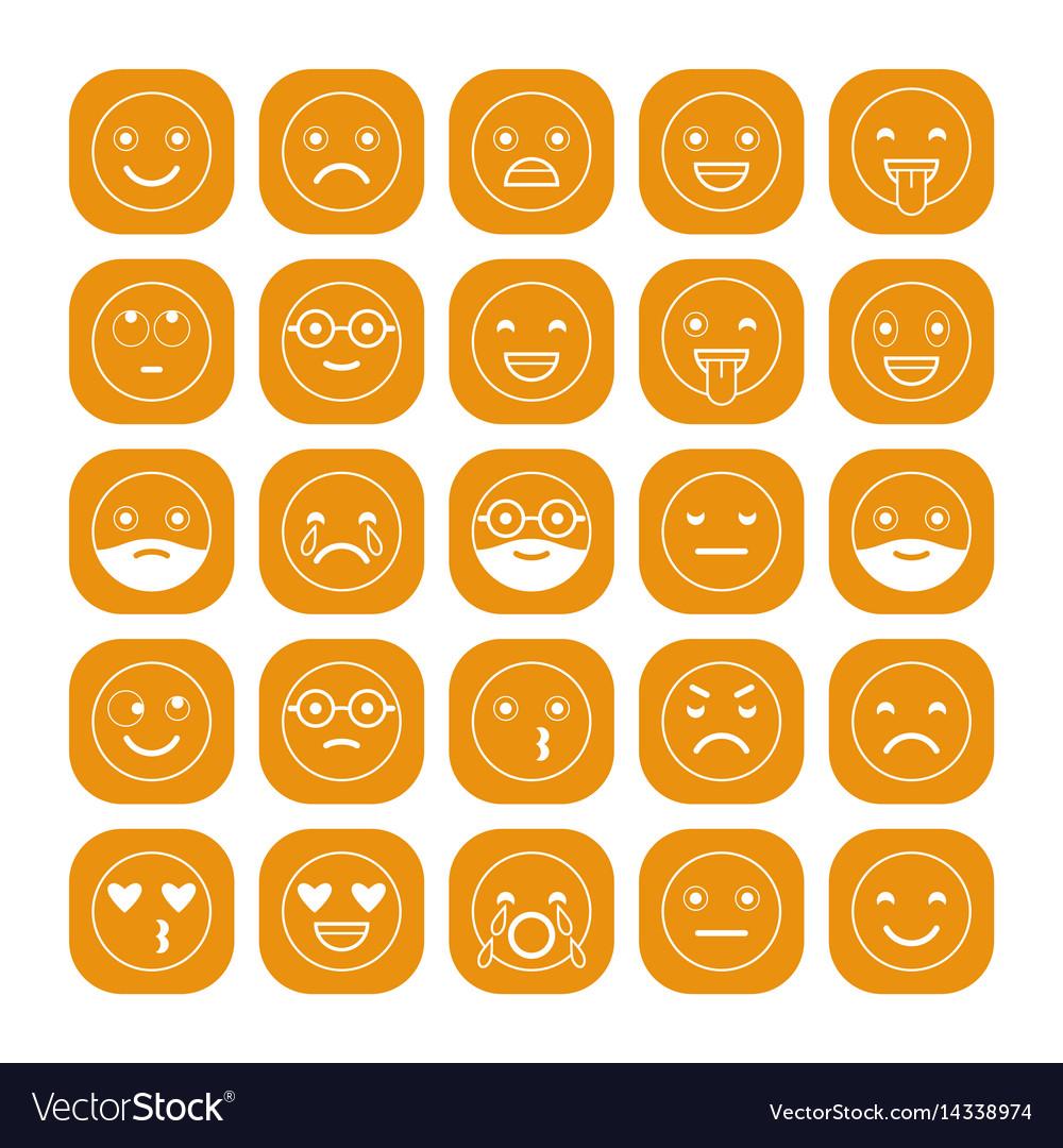 White linear flat icons of emoticons on orange