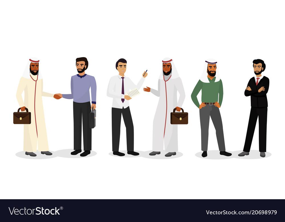Arab businessmen standing