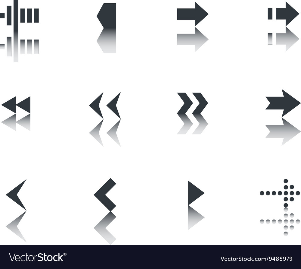 Arrows icon set with reflection