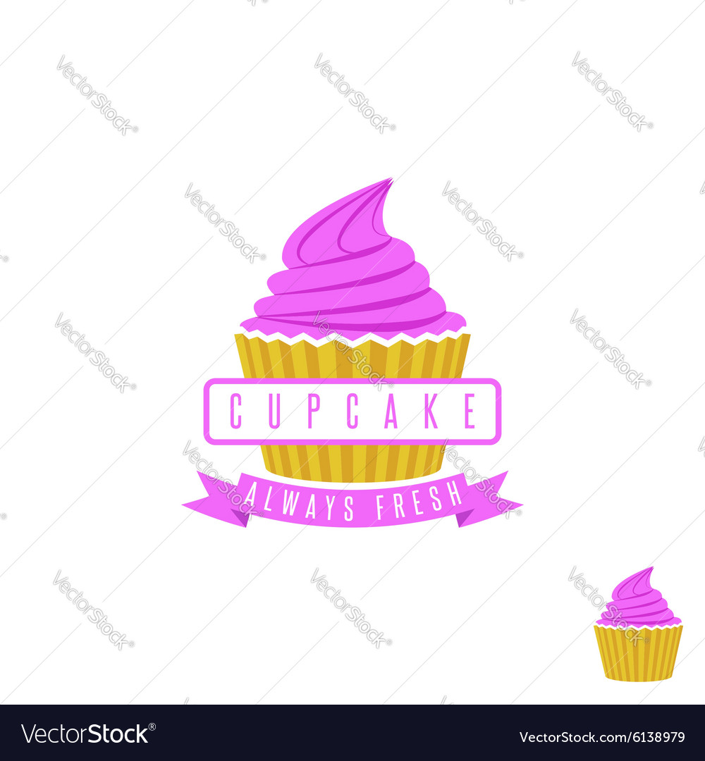 Cake shop logo sweet cupcake with pink cream and vector image