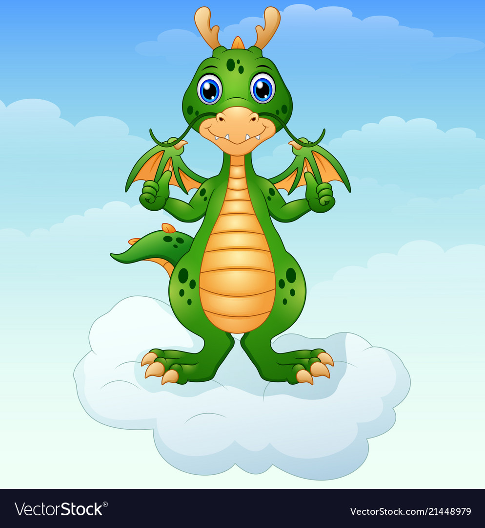 Cute cartoon green dragon giving thumbs up on the