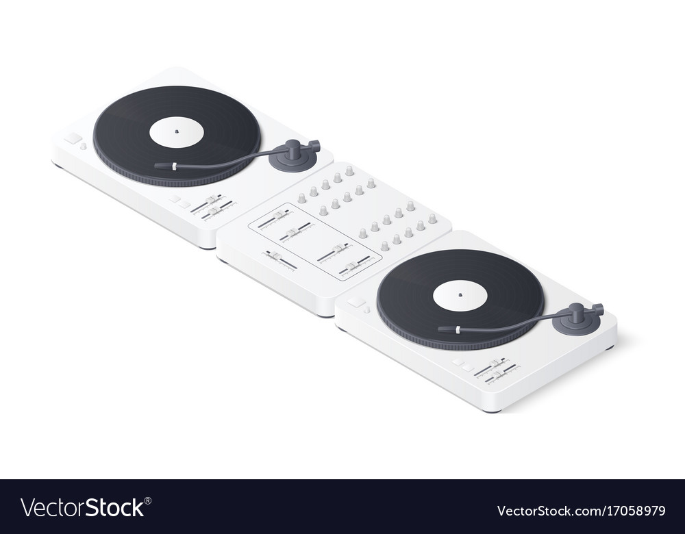 Dj mixer panel and turntables isolated on white