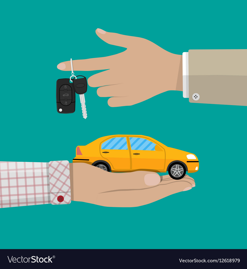 Hand with yellow car and keys vector image