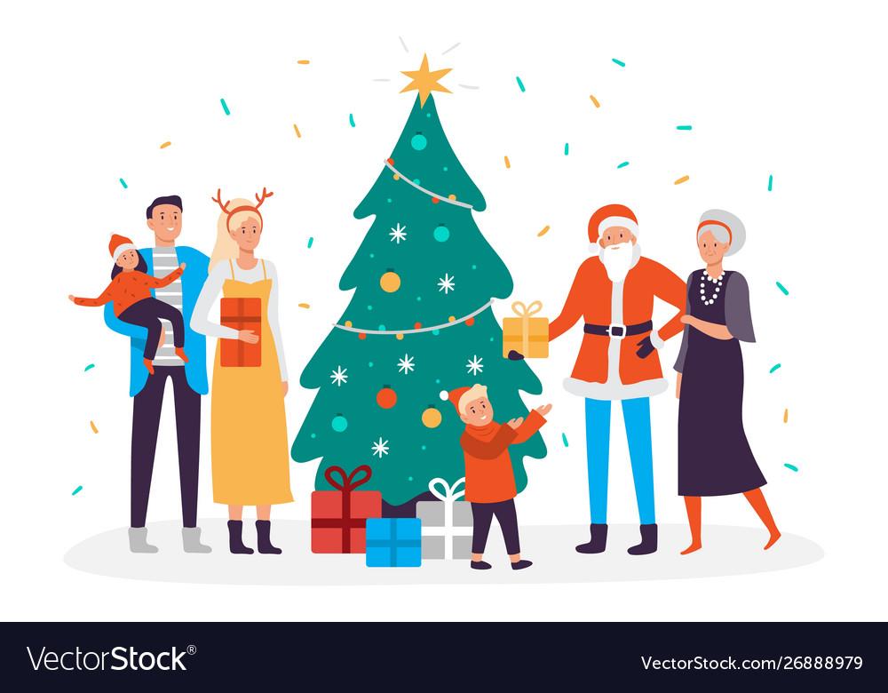 Happy family decorates christmas tree holiday