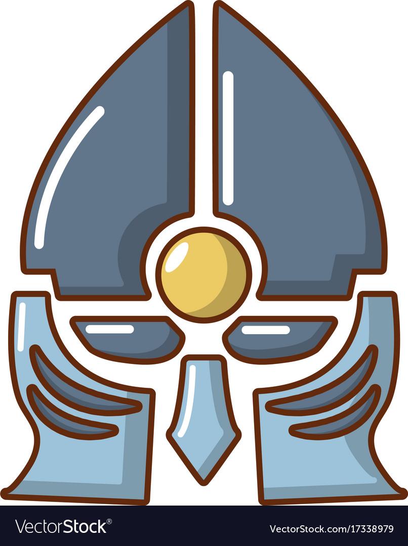Medieval knight helmet icon cartoon style vector image
