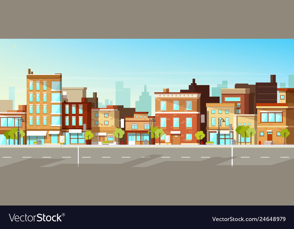 Modern city buildings flat background