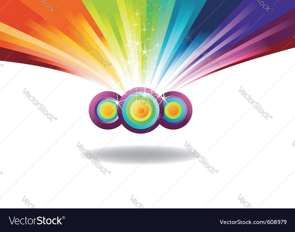 Rainbow banner with sparks vector