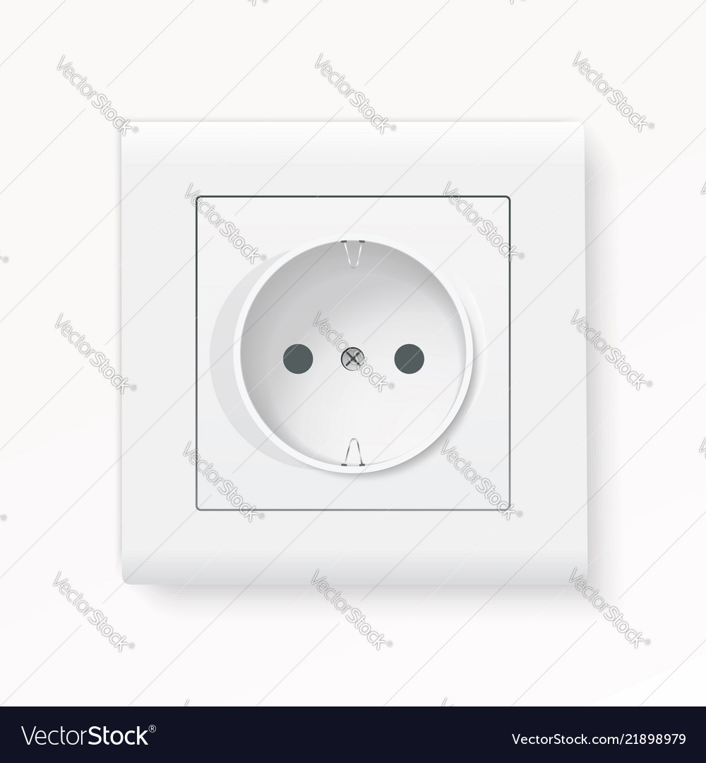 Realistic white power socket with shadow 3d