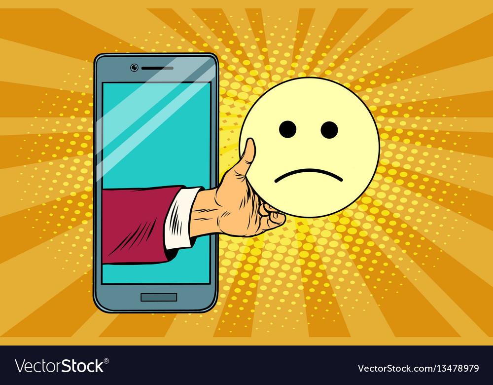 Sadness resentment emoji emoticons in smartphone