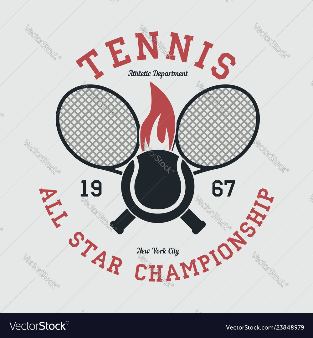 Tennis sports apparel with racket and fiery ball