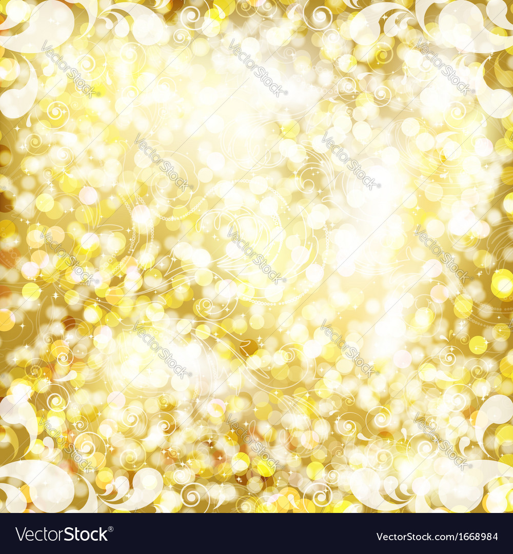 Abstract golden background with floral pattern