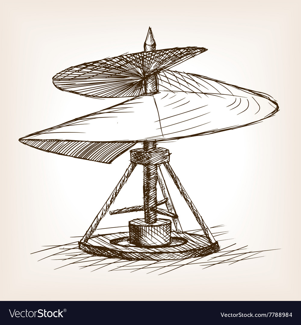 Antique helicopter hand drawn sketch