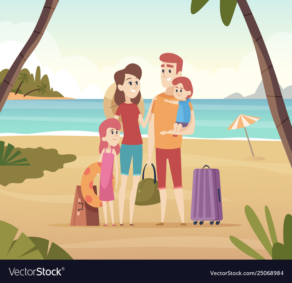 Family summer travellers kids with parents going