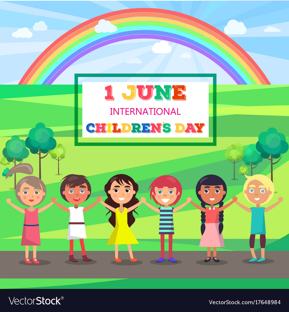 Happy childrens day poster with kids in park