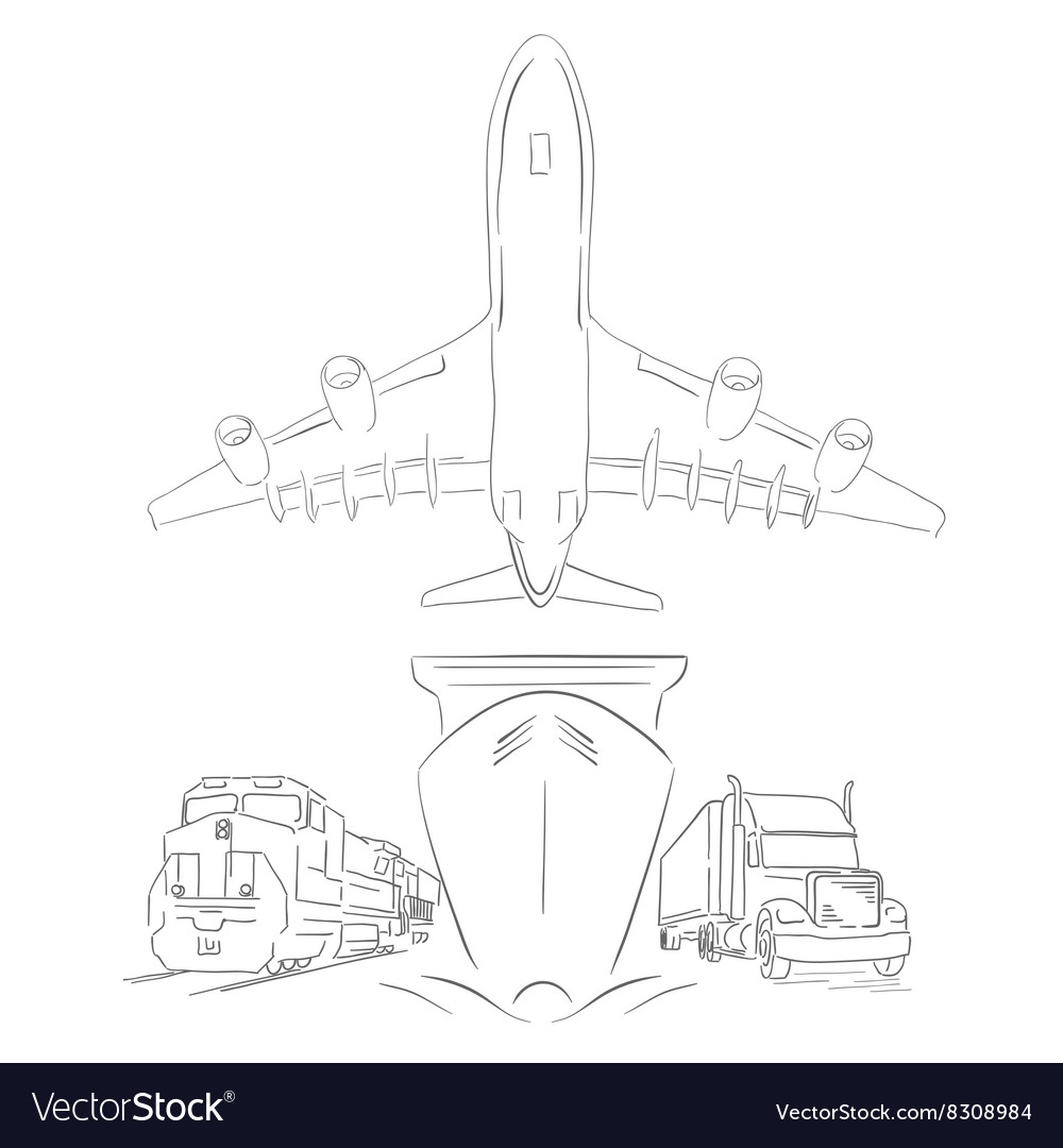 Logistics sign with plane truck container ship