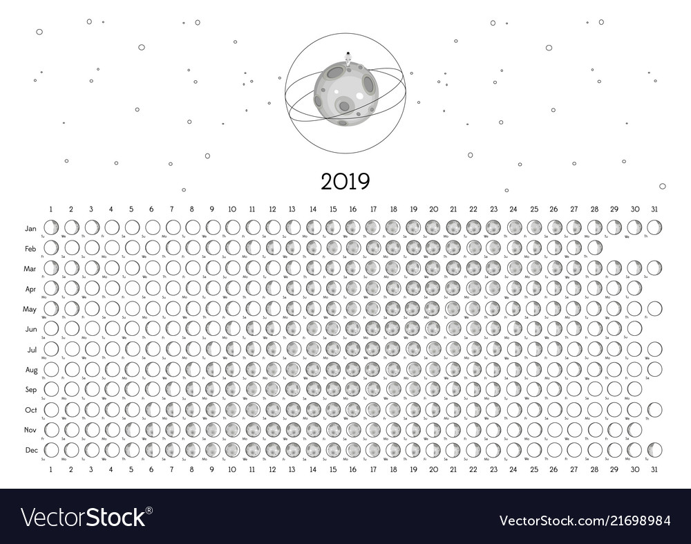 2019 Phases Of The Moon Calendar Moon calendar 2019 southern hemisphere Royalty Free Vector