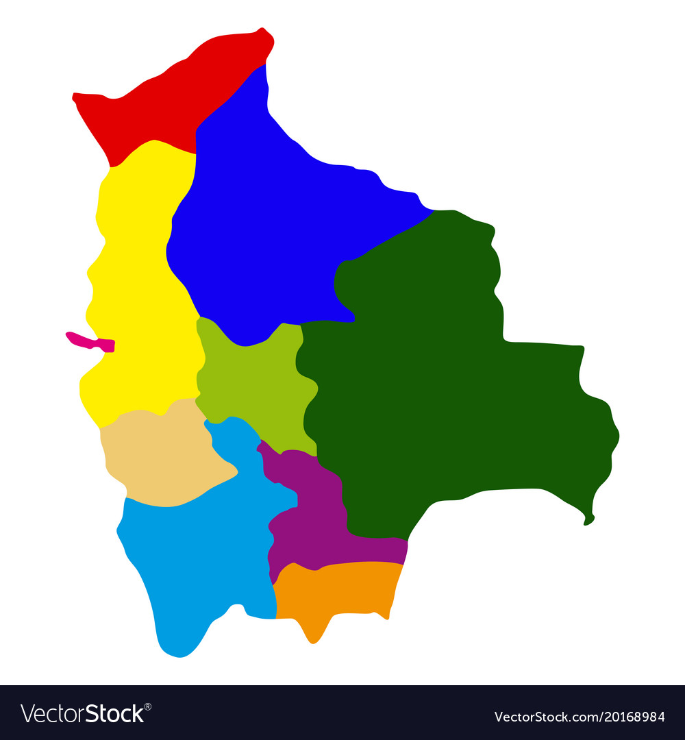 Politicla map of bolivia Royalty Free Vector Image