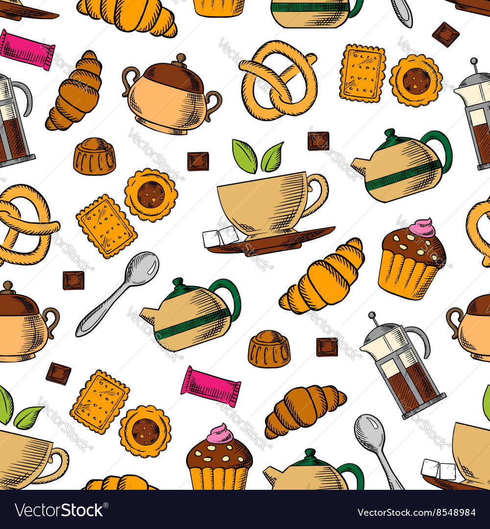 Retro seamless tea cups and sweets pattern