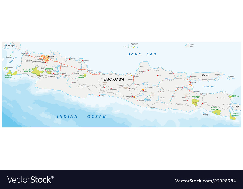 Road and national park map of the indonesian vector image