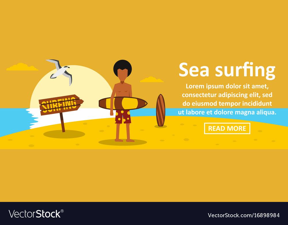 Sea surfing banner horizontal concept