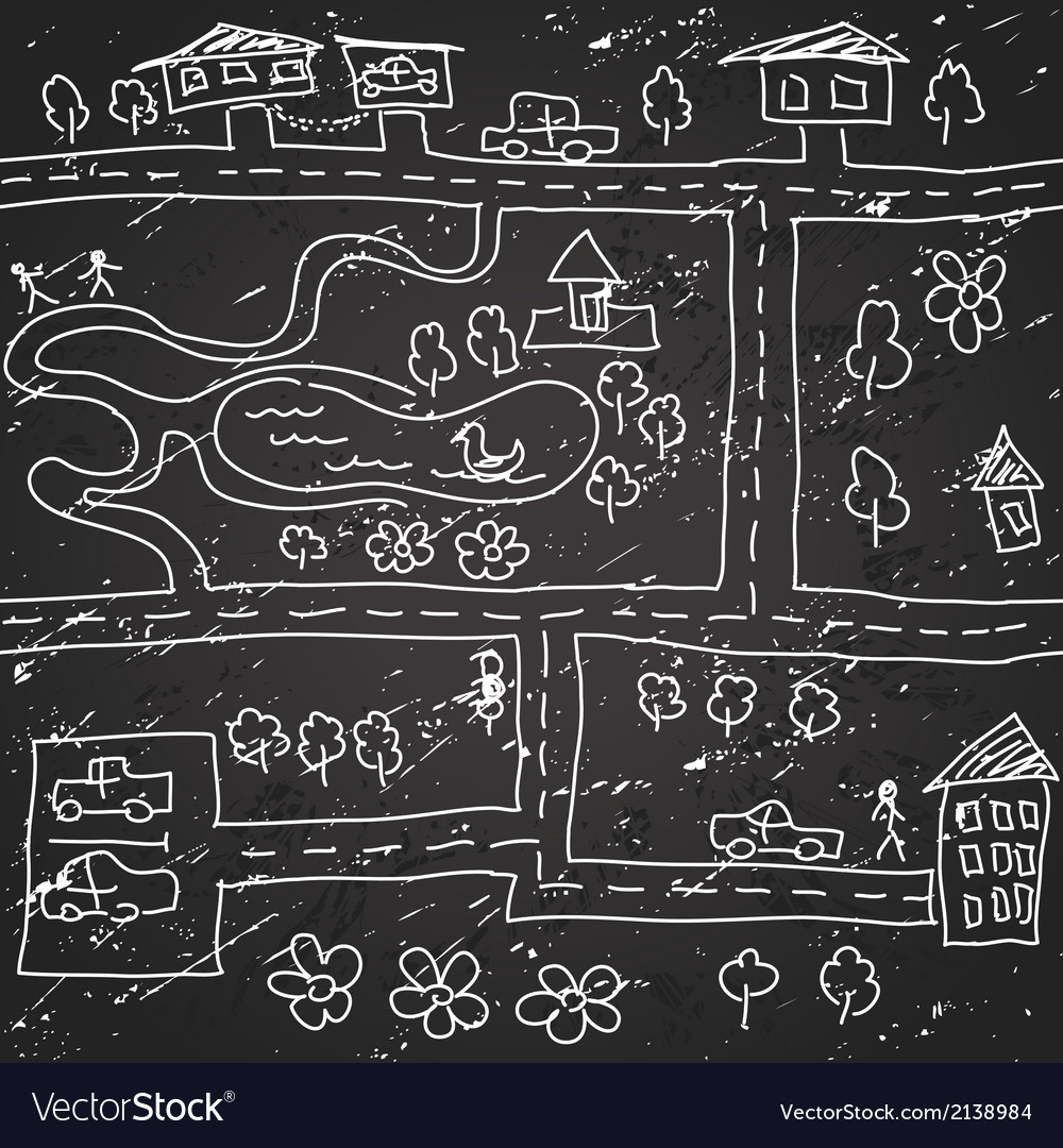 Seamless city map pattern vector image