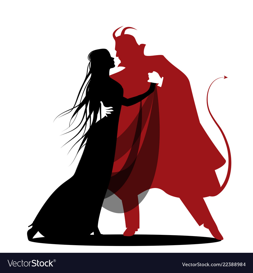 Silhouette of romantic devil dancing with a lady