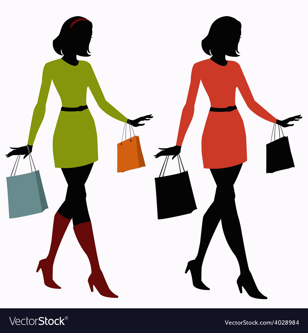 14a81207101 Silhouettes of girls with shopping bags