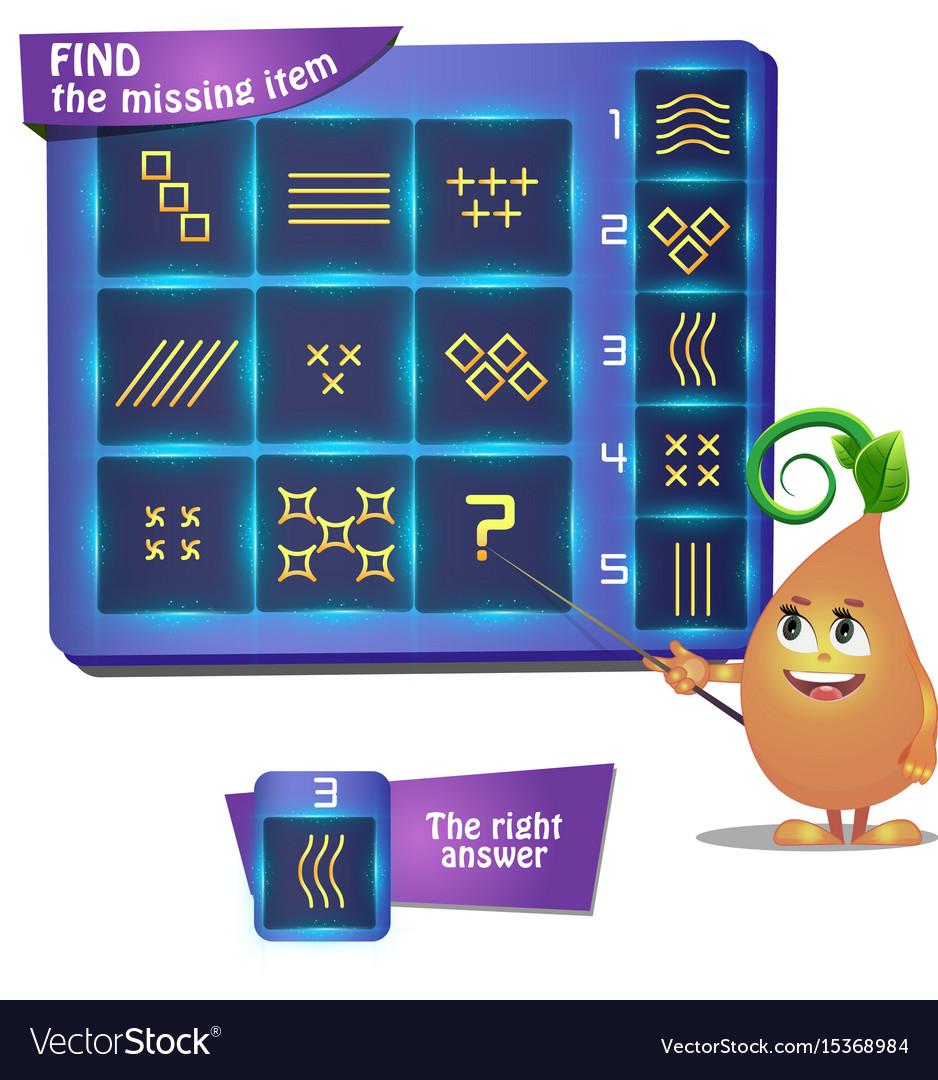 Stellar shape find the missing item vector image