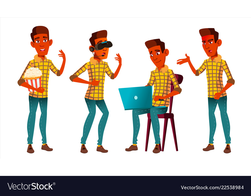 Teen boy poses set indian hindu asian vector image