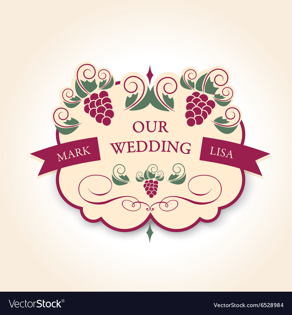 Template wedding badge in vintage style Ideal for vector image