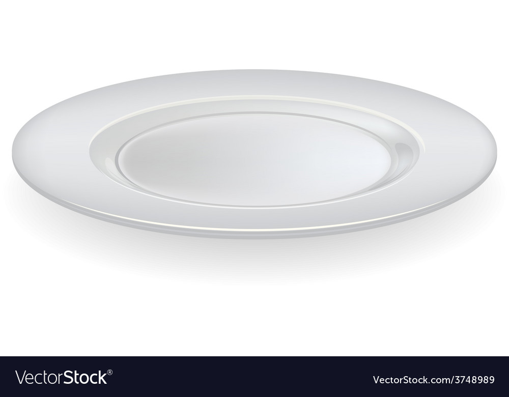 Ceramic plate on a white background vector image