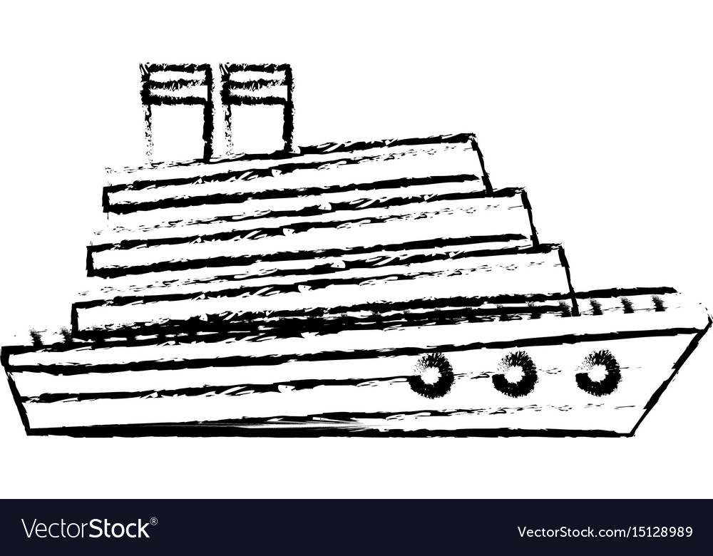 Cruise Boat In The Sea Side View Vacation Travel Vector Image