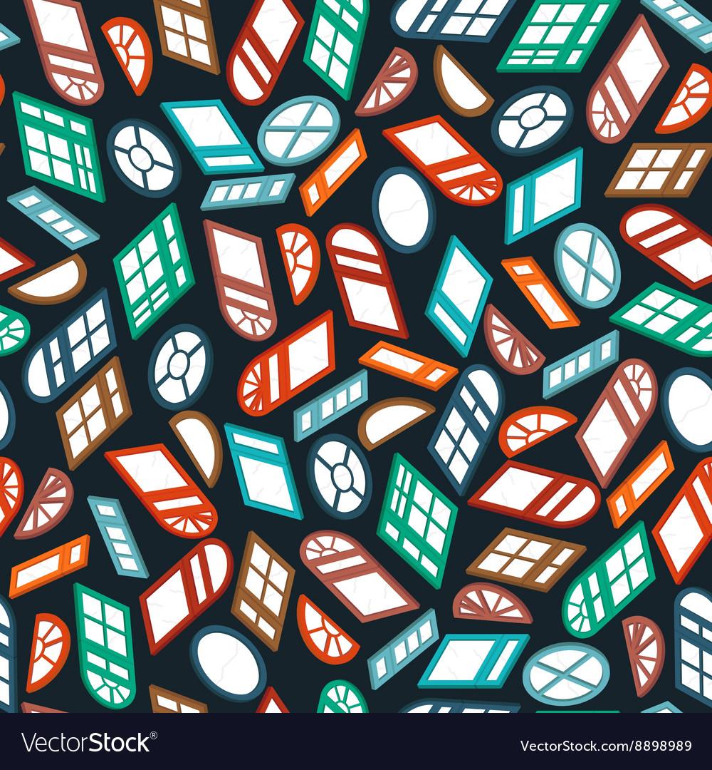 Dark seamless pattern color isometric window