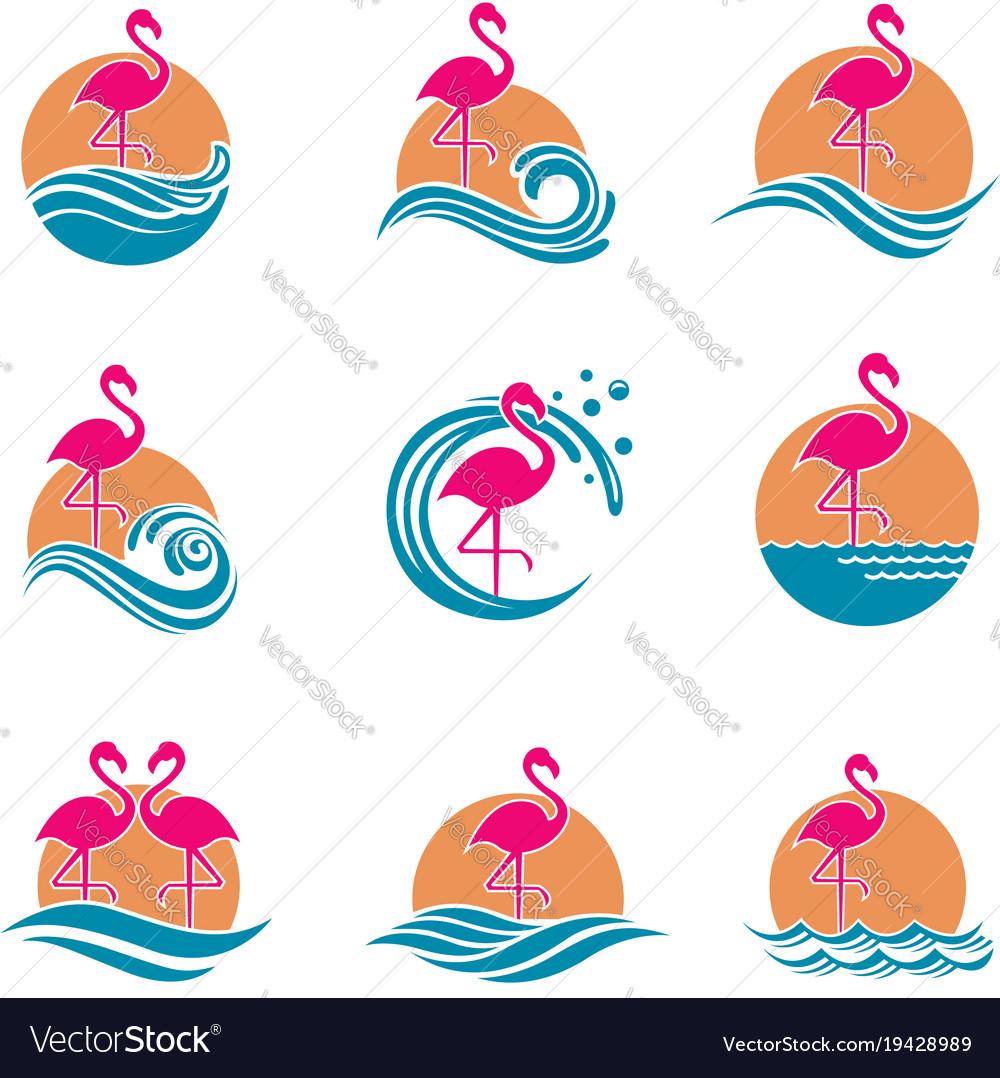 Flamingo emblems set