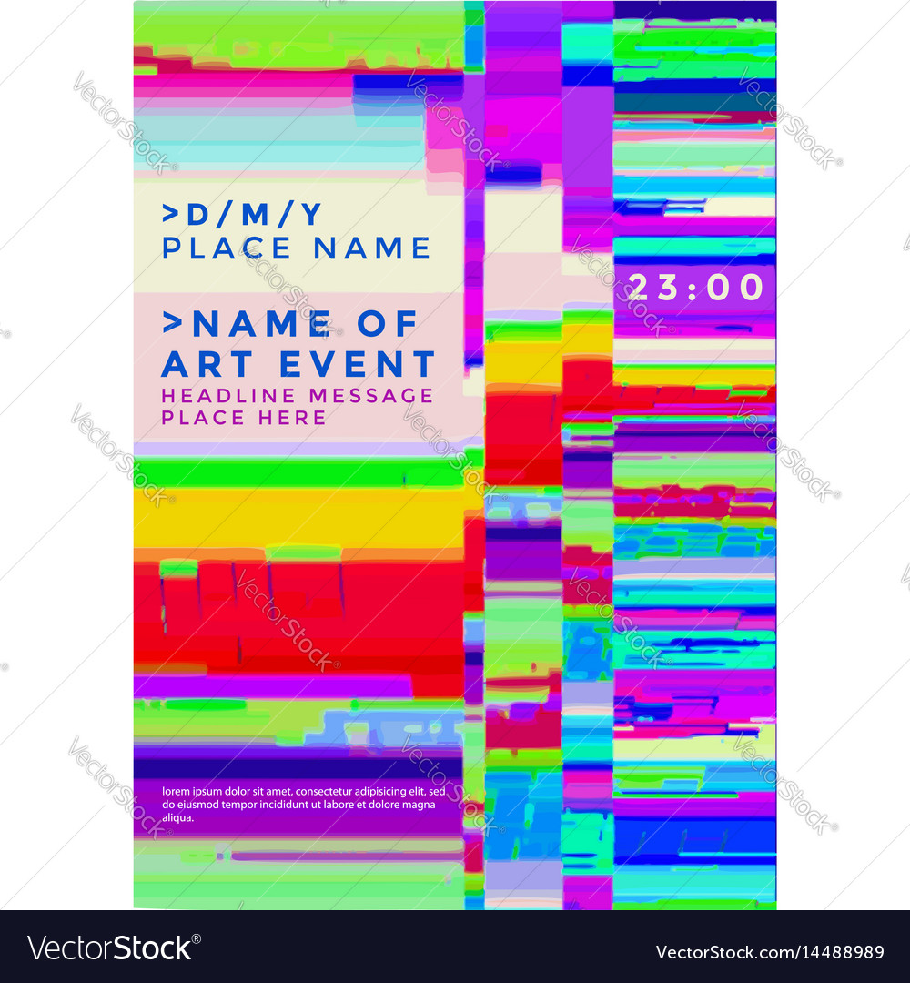 glitch background poster template royalty free vector image
