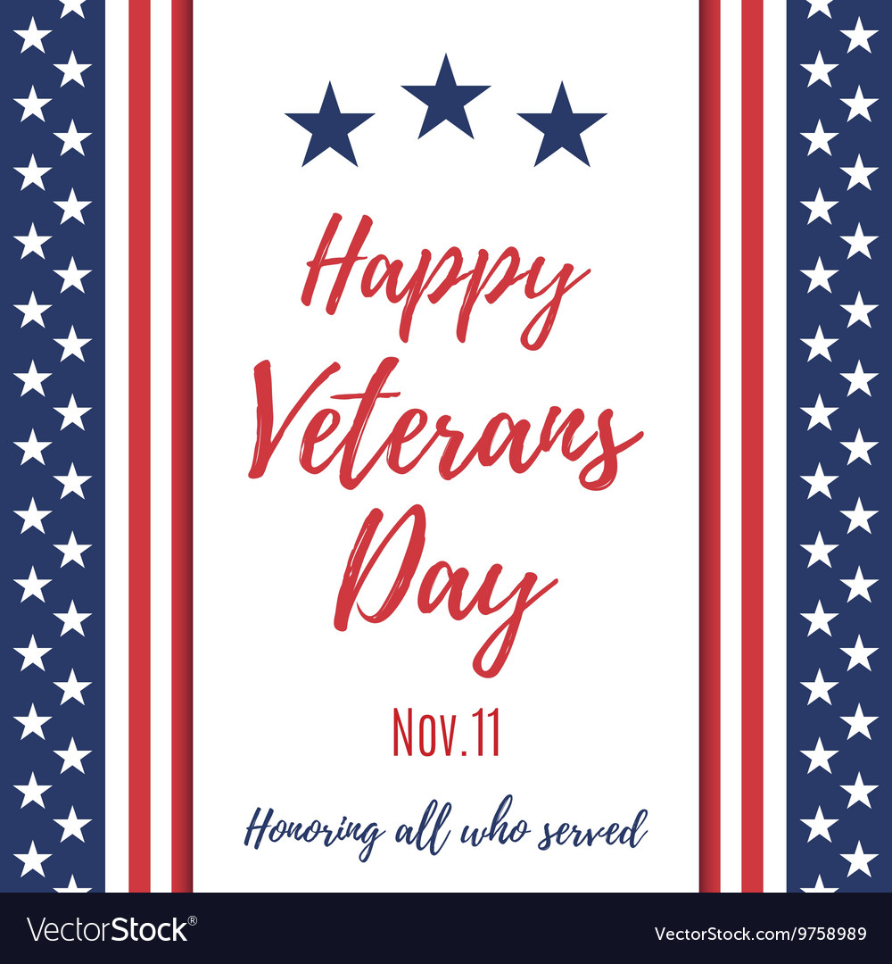 Happy Veterans Day background vector image